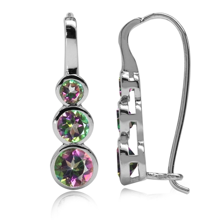 1.9ct. 3-Stone Mystic Fire Topaz White Gold Plated 925 Sterling Silver Hook Earrings