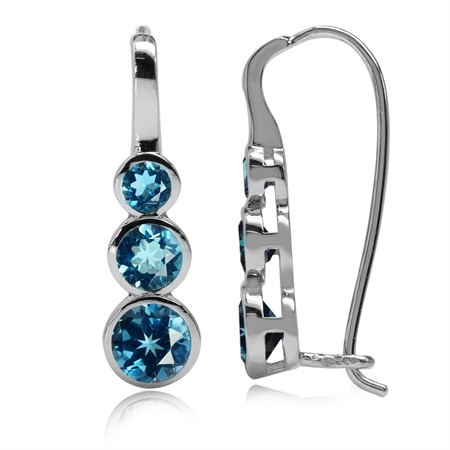 2.14ct. 3-Stone Genuine London Blue Topaz White Gold Plated 925 Sterling Silver Hook Earrings