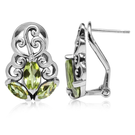 2.22ct. Natural Peridot 925 Sterling Silver Swirl Omega Clip Post Earrings