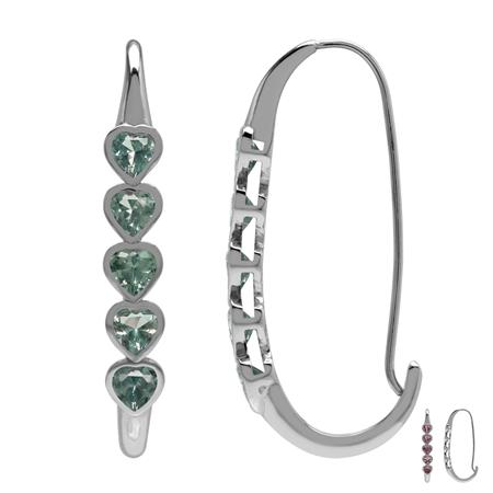 5-Stone Heart Shape Simulated Color Change Alexandrite 925 Sterling Silver Journey Hoop Earrings
