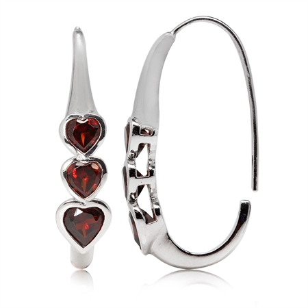 2.46ct. 3-Stone Heart Shape Natural Garnet White Gold Plated 925 Sterling Silver Hoop Earrings
