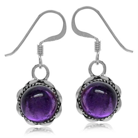 Cabochon Amethyst 925 Sterling Silver Filigree Dangle Hook Earrings