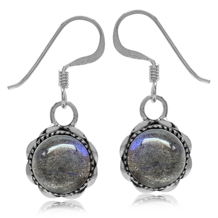 Natural Labradorite 925 Sterling Silver Filigree Dangle Hook Earrings