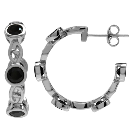3.3ct. Natural Black Spinel White Gold Plated 925 Sterling Silver Celtic Knot C-Hoop Earrings