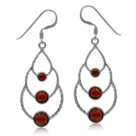 Elongated Cabochon Garnet White Gold Plated 925 Sterling Silver Drop Dangle Earrings