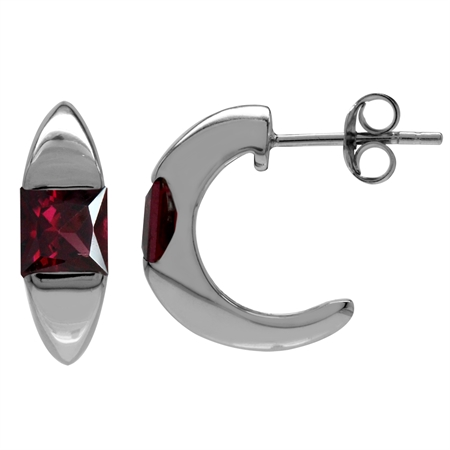 1.86ct. 5MM Square Natural Rhodolite Garnet White Gold Plated 925 Serling Silver C-Hoop Earrings