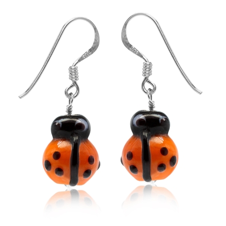 Orange Ladybug Glass Bead 925 Sterling Silver Dangle Hook Earrings