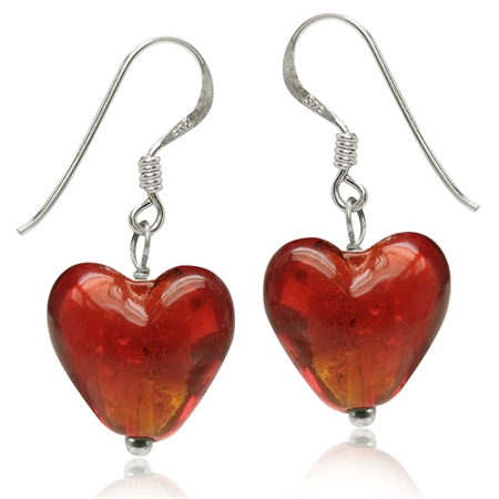 Heart Shape Red Crystal 925 Sterling Silver Dangle Hook Earrings