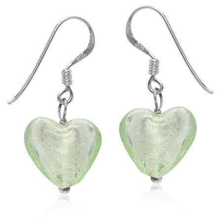 Heart Shape Green Crystal 925 Sterling Silver Dangle Hook Earrings