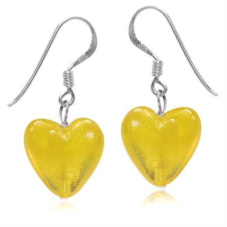 Heart Shape Yellow Crystal 925 Sterling Silver Dangle Hook Earrings
