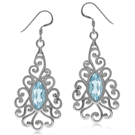4.1ct. Genuine Blue Topaz White Gold Plated 925 Sterling Silver Victorian Swirl Dangle Earrings