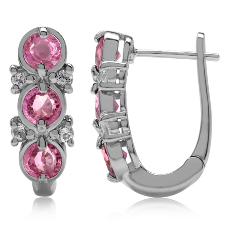 1.92ct. 3-Stone Natural Pink Tourmaline White Gold Plated 925 Sterling Silver English Hook Earrings