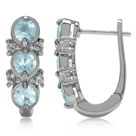 1.86ct. 3-Stone Genuine Blue Topaz White Gold Plated 925 Sterling Silver English Hook Earrings