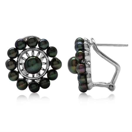 Cultured Black Pearl White Gold Plated 925 Sterling Silver Omega Clip Earrings