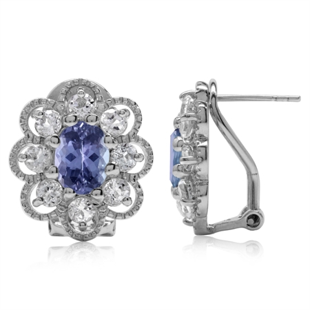 2.64ct. Genuine Tanzanite & White Topaz Gold Plated 925 Sterling Silver Flower Omega Clip Earrings