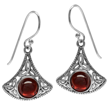 Cabochon Garnet 925 Sterling Silver Triquetra Celtic Knot Dangle Hook Earrings