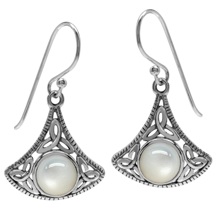 White Mother Of Pearl 925 Sterling Silver Triquetra Celtic Knot Dangle Earrings