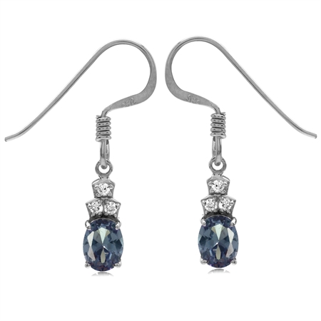 Simulated Color Change Alexandrite & White CZ Gold Plated 925 Sterling Silver Dangle Earrings