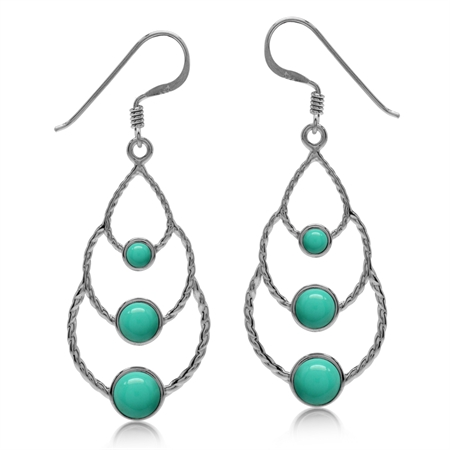 Elongated Created Green Turquoise White Gold Plated 925 Sterling Silver Drop Dangle Earrings