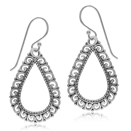 Antique Finish 925 Sterling Silver Victorian Style Drop Shape Dangle Earrings