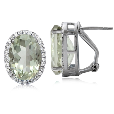 8.52ct Classic Green Amethyst & Topaz White Gold Plated 925 Sterling Silver Omega Clip Post Earrings
