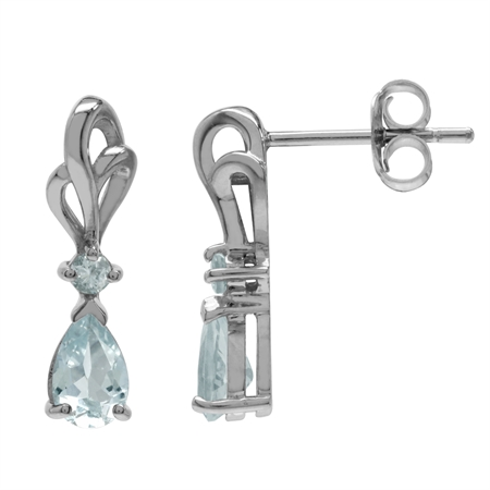 Genuine Aquamarine White Gold Plated 925 Sterling Silver Ribbon Drop Post Earrings
