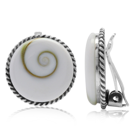 Shiva Shell 925 Sterling Silver Round Disc Shape Clip-on Earrings