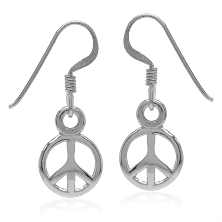 White Gold Plated 925 Sterling Silver Peace Sign Dangle Hook Earrings
