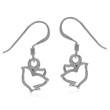 White Gold Plated 925 Sterling Silver Peace Dove Bird Dangle Hook Earrings
