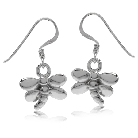 White Gold Plated 925 Sterling Silver Dragonfly Dangle Hook Earrings