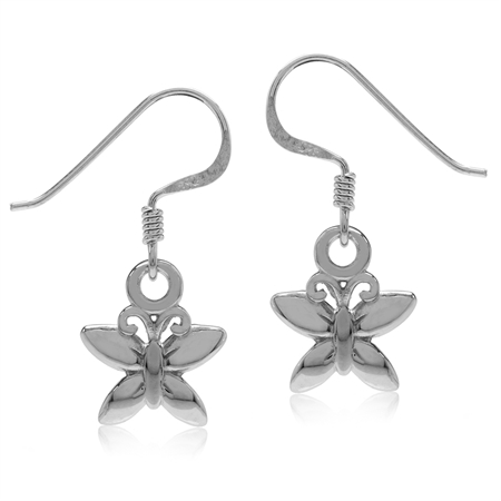 White Gold Plated 925 Sterling Silver Butterfly Dangle Hook Earrings
