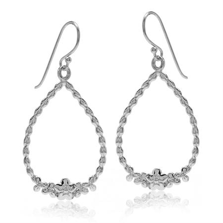 White Gold Plated 925 Sterling Silver Flower Drop Shape Dangle Hook Earrings