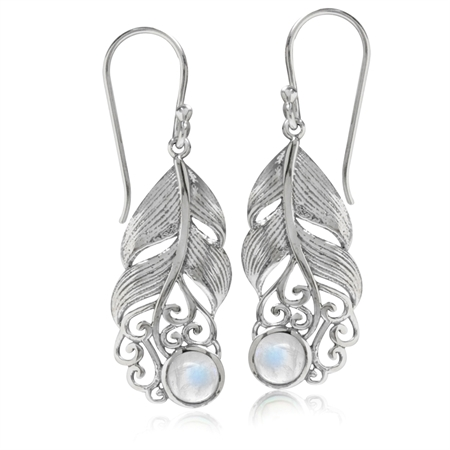 Natural Moonstone 925 Sterling Silver Feather Victorian Style Dangle Hook Earrings
