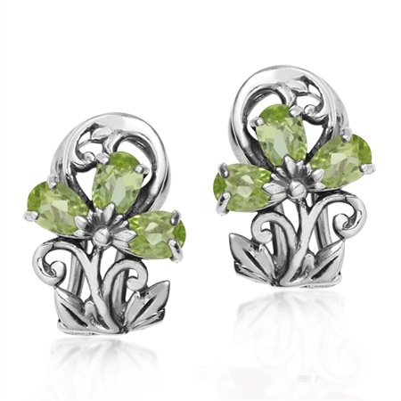 1.2ct. Natural Peridot 925 Sterling Silver Victorian Style Flower & Leaf Omega Clip Earrings