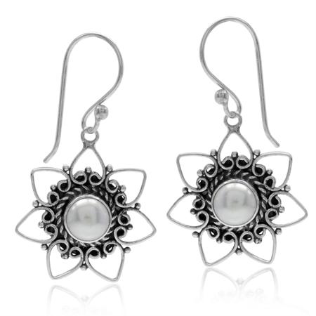 Cultured Freshwater White Pearl 925 Sterling Silver Heart Flower Dangle Hook Earrings