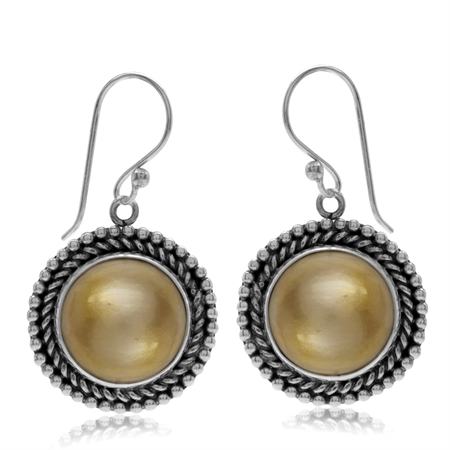 Cultured Mabe Pearl 925 Sterling Silver Bali/Balinese Style Round Disc Shape Dangle Earrings