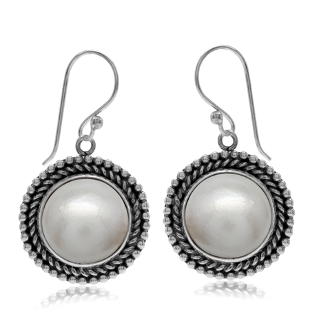 Cultured White Mabe Pearl 925 Sterling Silver Bali/Balinese Style Round Disc Shape Dangle Earrings