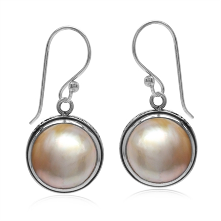 Cultured Mabe Pearl 925 Sterling Silver S-Pattern Swirl Dangle Hook Earrings