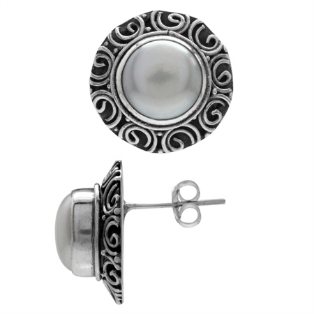 Cultured Freshwater White Pearl 925 Sterling Silver Bali/Balinese Style Earrings