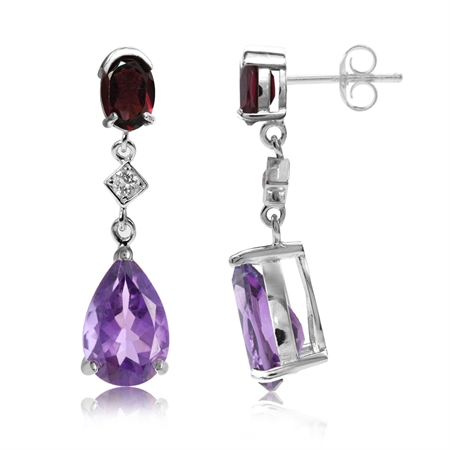 5.14ct. Natural Amethyst, Rhodolite Garnet & Topaz 925 Sterling Silver Drop Dangle Post Earrings