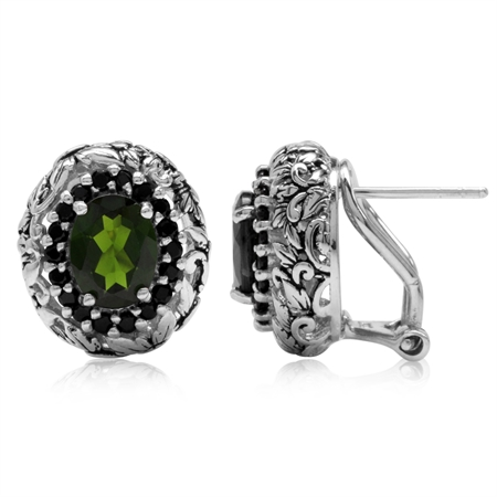 2.62ct. Green Chrome Diopside & Black Spinel 925 Sterling Silver Vintage Style Omega Clip Earrings
