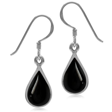 Created Black Onyx White Gold Plated 925 Sterling Silver Drop Dangle Earrings