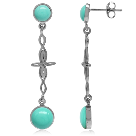 Created Green Turquoise White Gold Plated 925 Sterling Silver Intertwined Cross Dangle Post Earrings