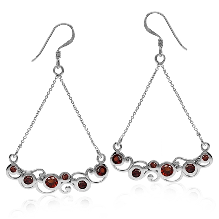 1.76ct. Natural Garnet White Gold Plated 925 Sterling Silver Swirl & Spiral Chain Dangle Earrings