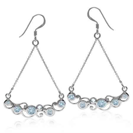 1.62ct Genuine Blue Topaz White Gold Plated 925 Sterling Silver Swirl & Spiral Chain Dangle Earrings