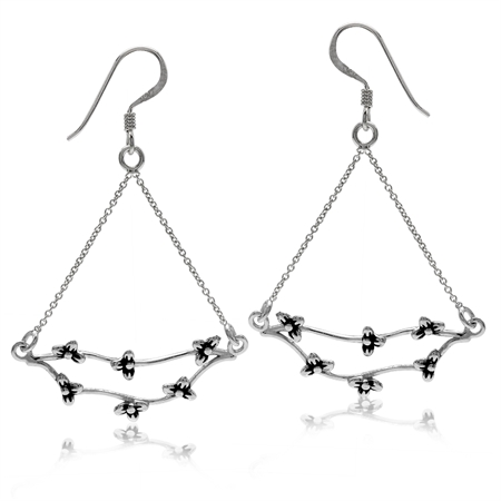 White Gold Plated 925 Sterling Silver Flower Vintage Style Chain Dangle Earrings