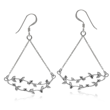 White Gold Plated 925 Sterling Silver Flower & Leaf Vintage Style Chain Dangle Earrings