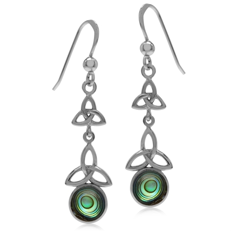 Abalone/Paua Shell White Gold Plated 925 Sterling Silver Triquetra Celtic Knot Dangle Hook Earrings