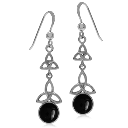 Created Black Onyx White Gold Plated 925 Sterling Silver Triquetra Celtic Knot Dangle Hook Earrings