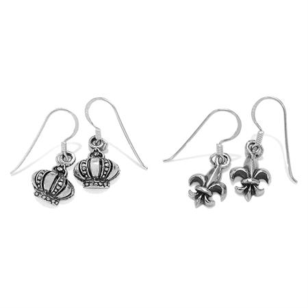 Petite 2-Pair Set 925 Sterling Silver Crown & Fleur De Lis Casual Teens/Girls Dangle Hook Earrings